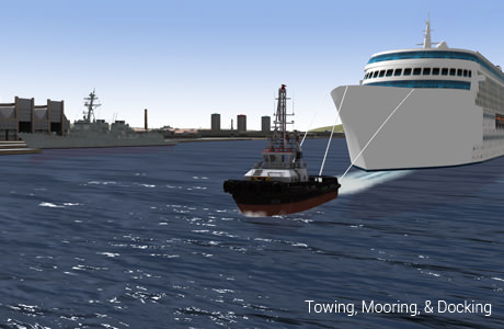 Tug boat towing a cruise ship in the Fleetman environment